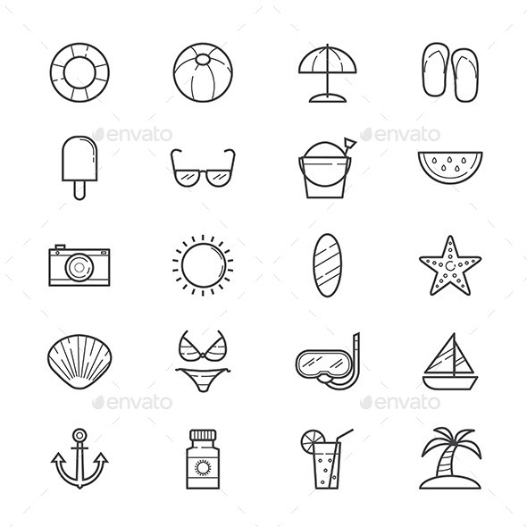 Summer Relax and Beach Icons Line - Seasonal Icons