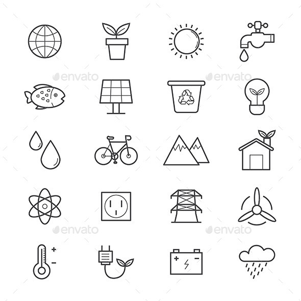 Environmental and Green Energy Icons Line - Technology Icons