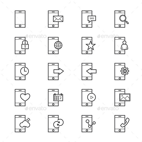 Mobile Phone Device Icons Line