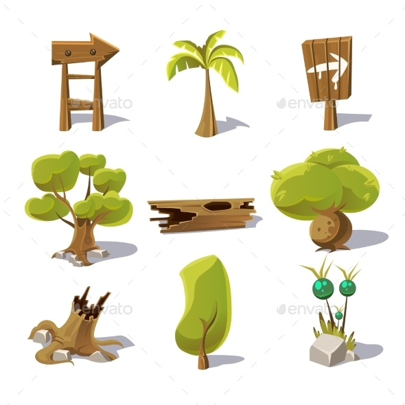 Cartoon Nature Elements - Flowers & Plants Nature
