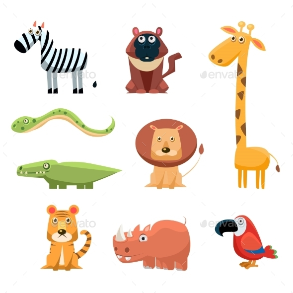 African Animals Cartoon Collection - Animals Characters