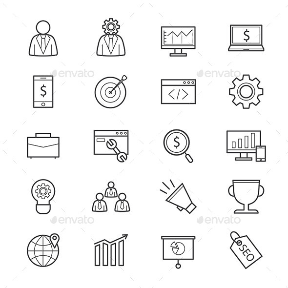 SEO Development Icons Line - Business Icons