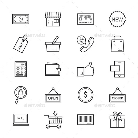 Shopping and Online Shopping Icons Line - Business Icons