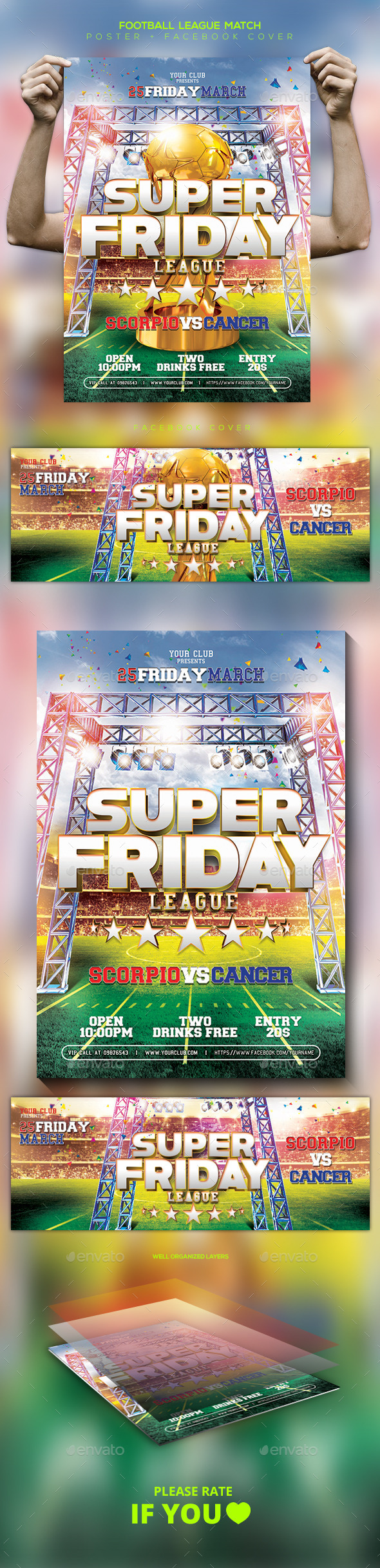 Football Game Template Flyer / Poster / Facebook - Sports Events
