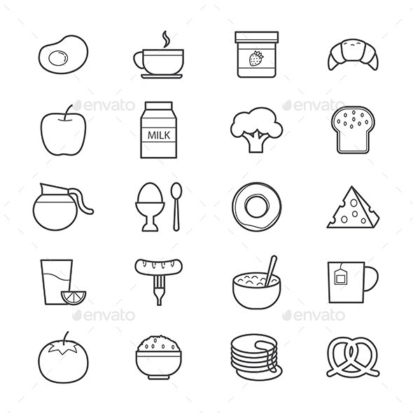 Breakfast Icons Line - Food Objects