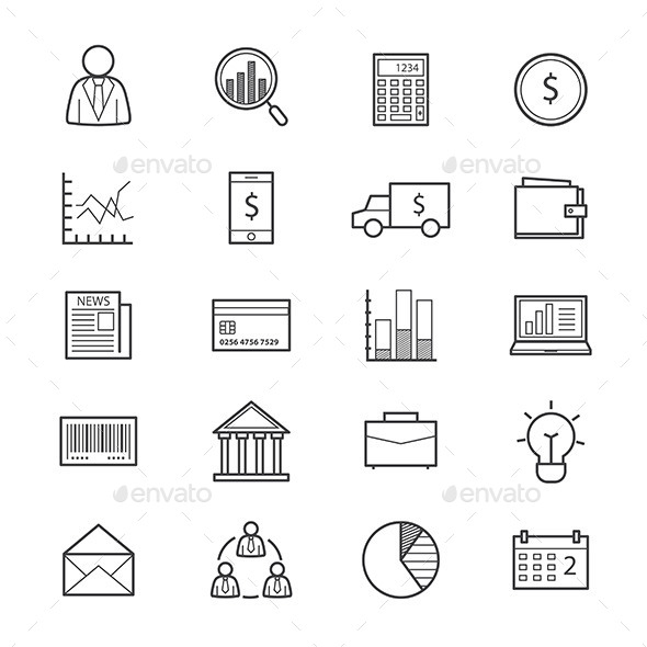 Business and Finance Money Icons Line - Business Icons