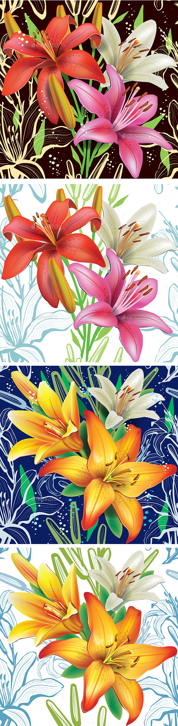 Seamless Floral Pattern with Lilies - Flowers & Plants Nature