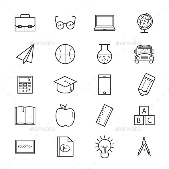 Education and School Icons Line