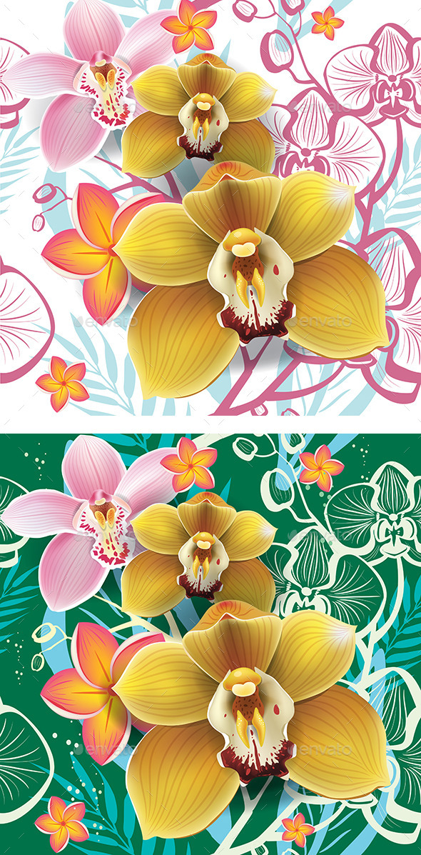 Seamless Floral Pattern with Yellow Orchid  - Flowers & Plants Nature