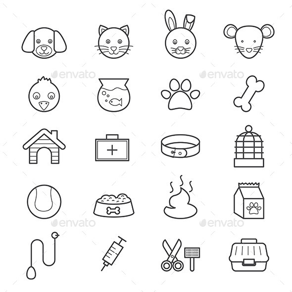 Pet Icons Line - Animals Characters