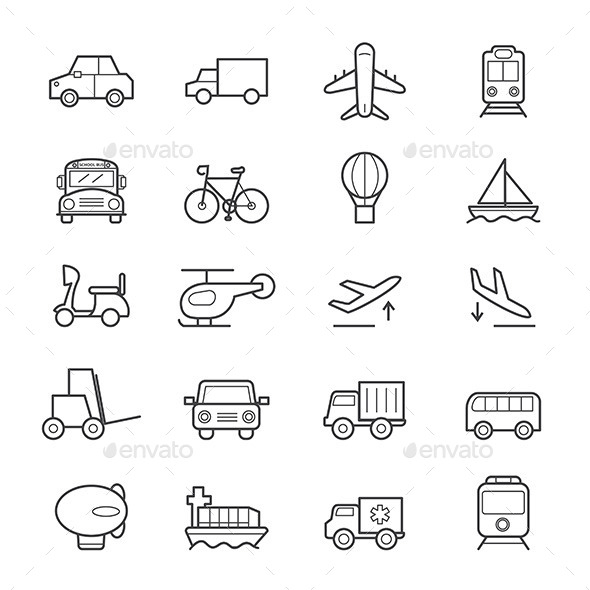 Transportation Icons Line - Business Icons