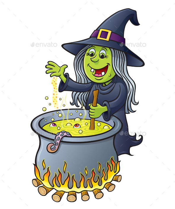 Witch Stirring a Hot Bubbling Cauldron - Halloween Seasons/Holidays