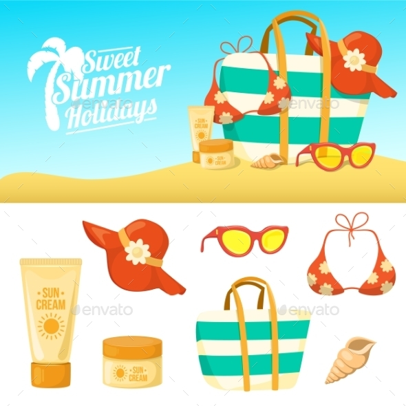 Summer Background and Icons