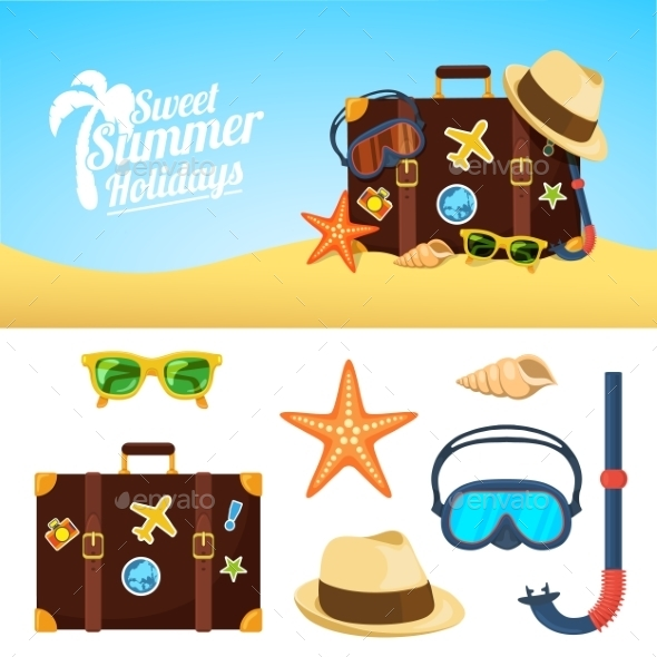 Summer Background and Icons - Miscellaneous Vectors