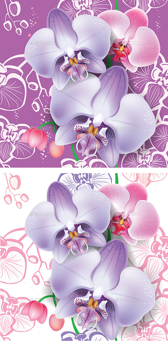 Seamless Floral Pattern with Pink Orchid - Flowers & Plants Nature