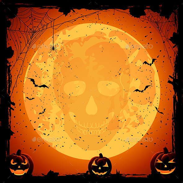 Skull on Moon Background - Halloween Seasons/Holidays