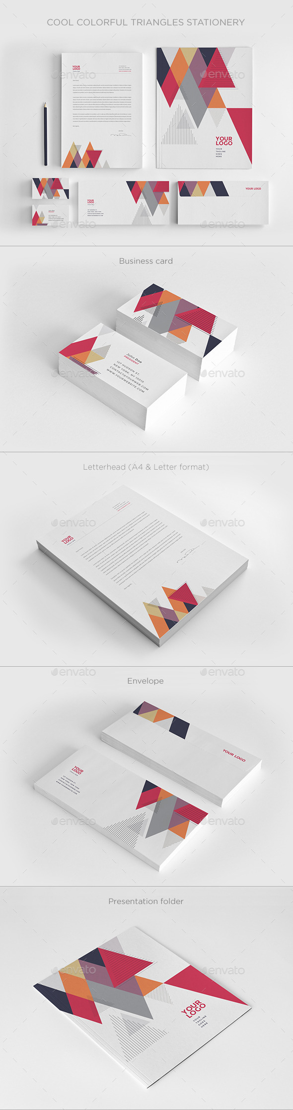 Cool Colorful Triangles Stationery - Stationery Print Templates