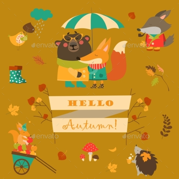 Set of Cartoon Characters and Autumn Elements - Seasons Nature