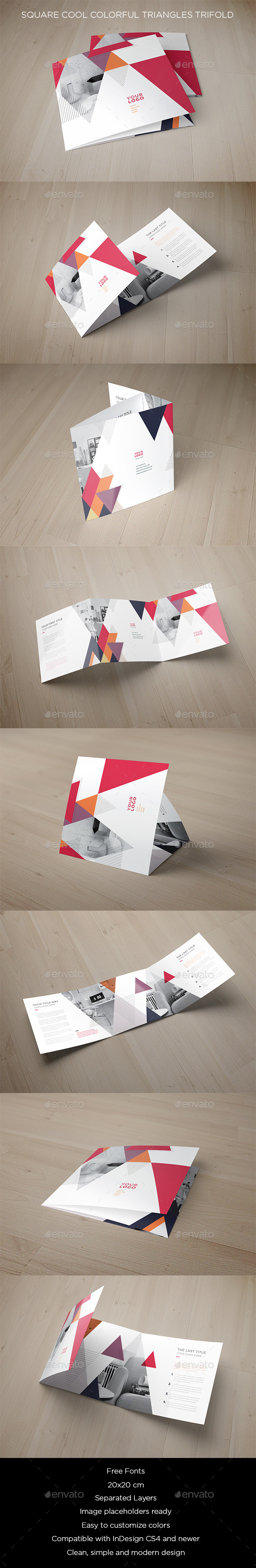 Square Cool Colorful Triangles Trifold - Brochures Print Templates