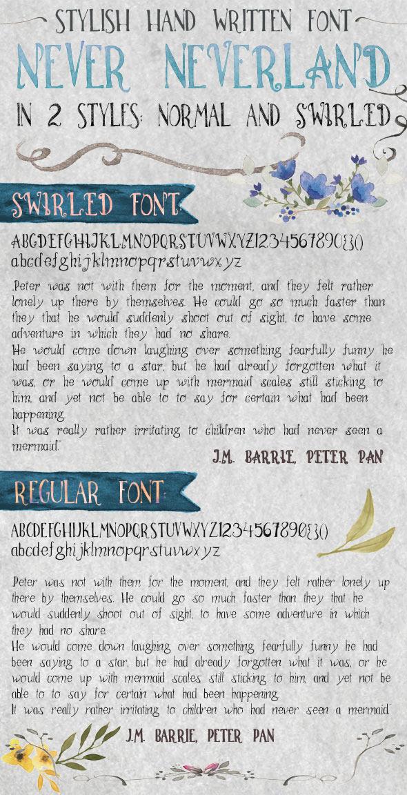 Hand Written Font Never Neverland - Hand-writing Script