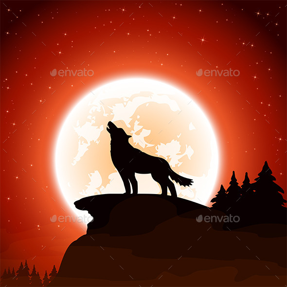 Wolf and Moon on Sky Background - Animals Characters