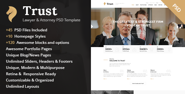 Trust – Lawyer & Attorney Business PSD Template