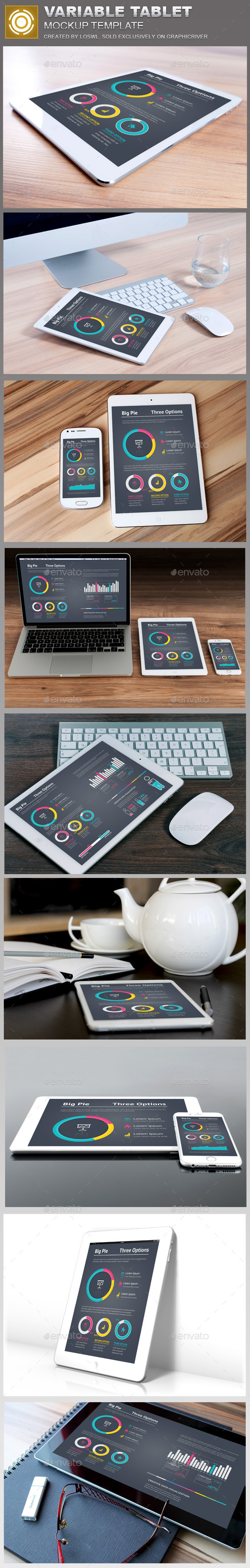 Variable Tablet Mockups Template - Product Mock-Ups Graphics