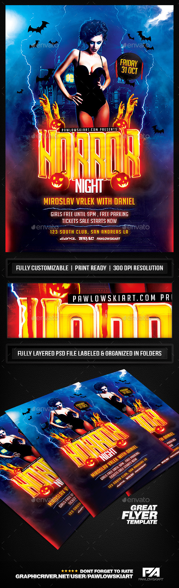 Horror Night Party - Halloween Flyer Template - Clubs & Parties Events