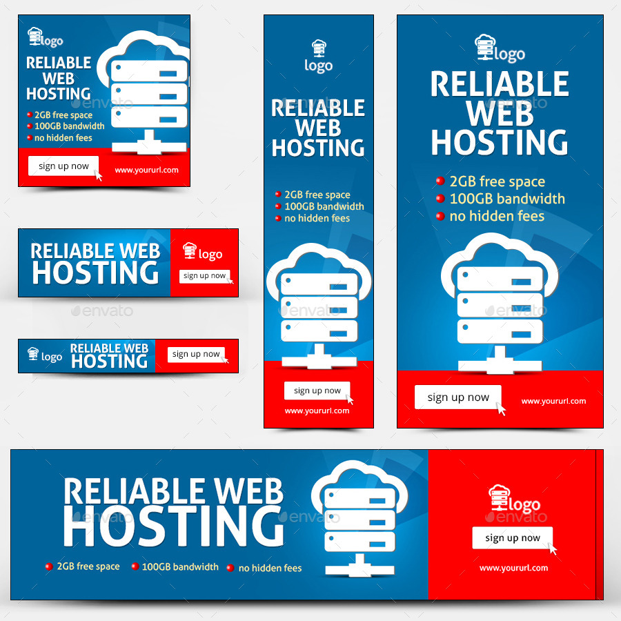 Free web hosting no banner - Red 539 Web Hosting Banners_preview1 Jpg