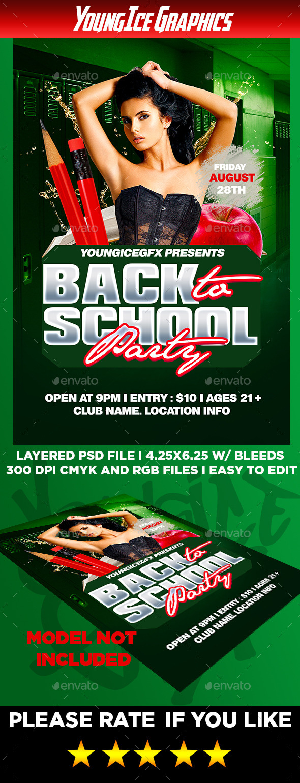 Back to School Party Flyer Template - Clubs & Parties Events
