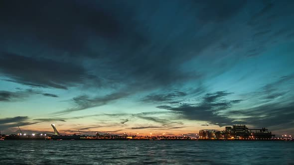 Montreal Saint Lawrence River And Boats Sunset Timelapse