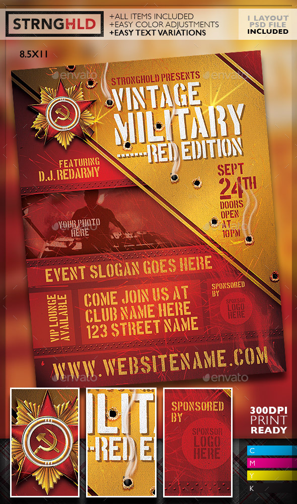 Vintage Russian Military Style Event Flyer - Miscellaneous Events
