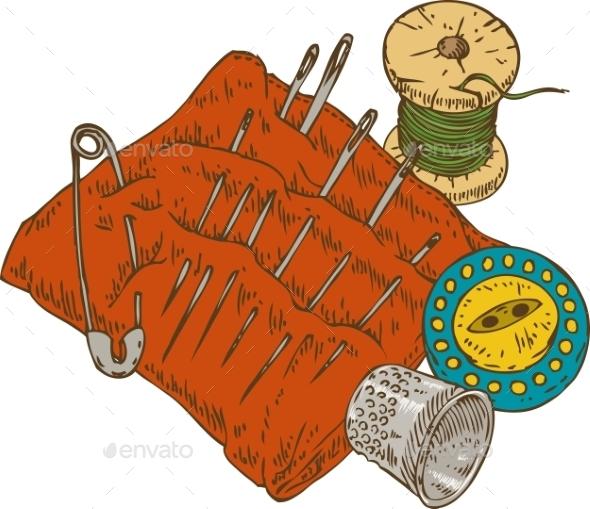 Spool Of Thread, Button, Thimble, Needles - Miscellaneous Vectors