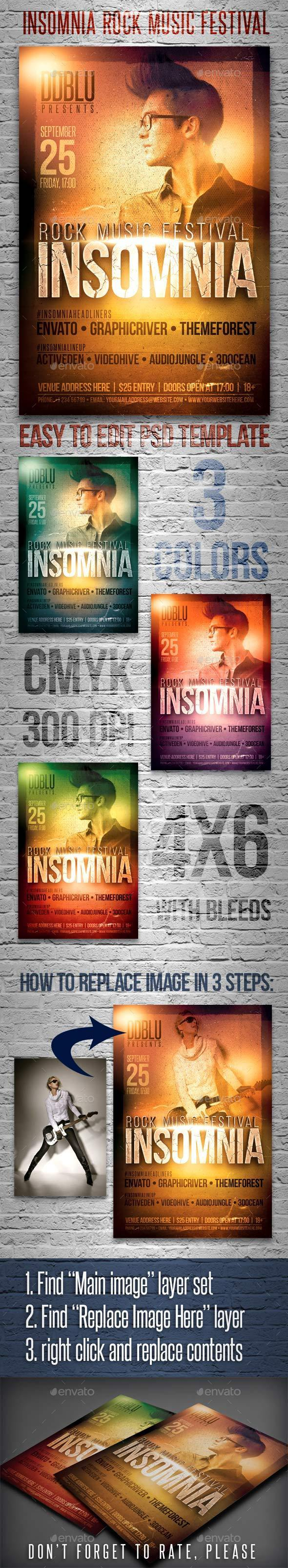 Insomnia Rock Music Festival Flyer - Events Flyers