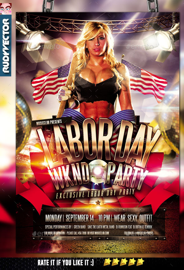 Labor Day Weekend Party Flyer - Clubs & Parties Events