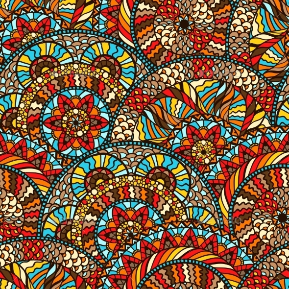 Ethnic Seamless Pattern With Hand Drawn Ornament - Patterns Decorative