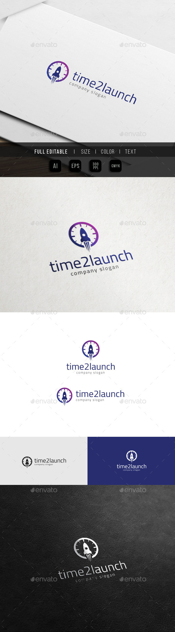 Time to Launch - Rocket Clock Logo - Objects Logo Templates