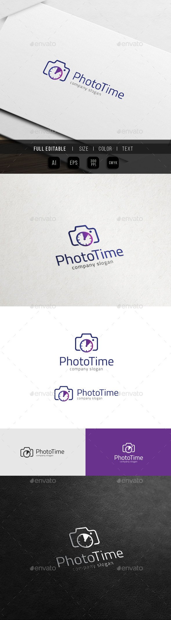 Photo Time - Camera Clock - Photography Logo - Objects Logo Templates