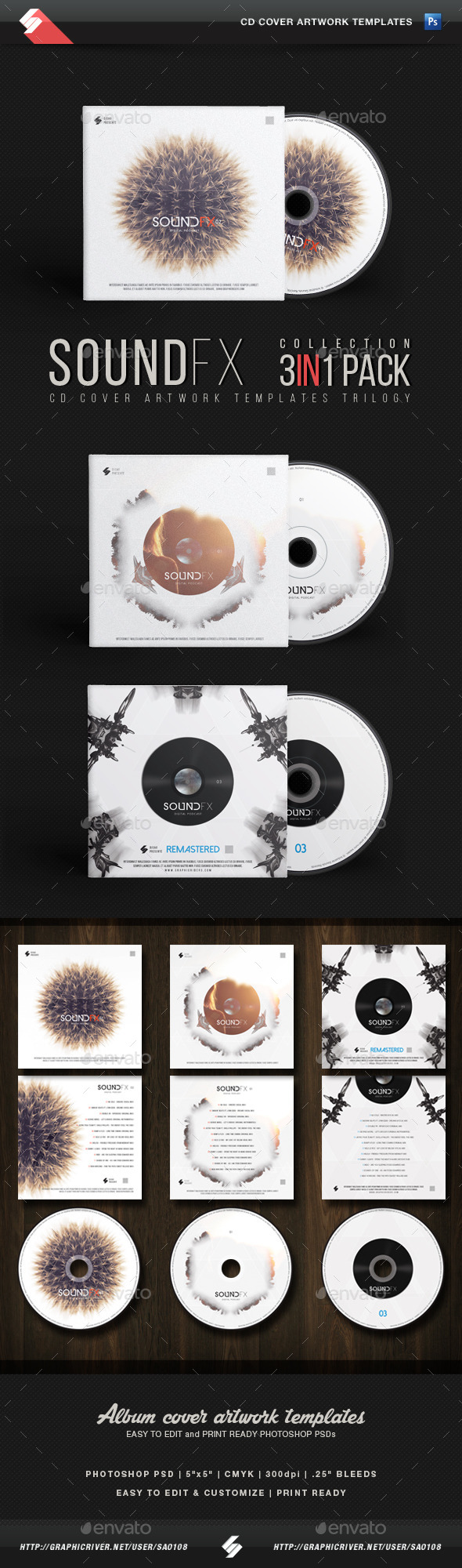 Sound FX Trilogy - CD Cover Templates Bundle - CD & DVD Artwork Print Templates