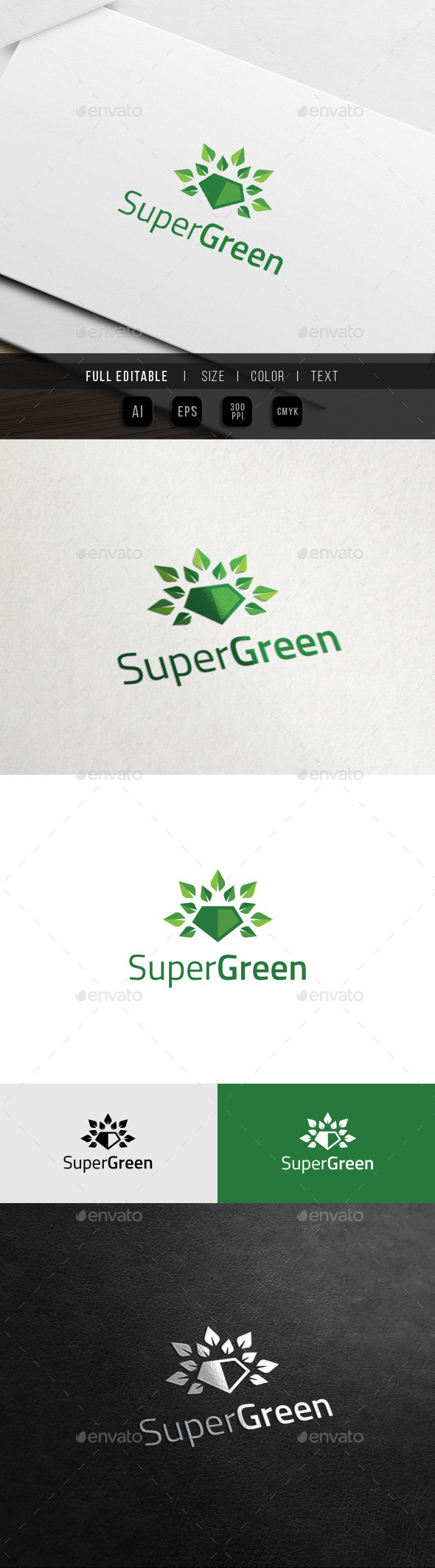 Super Go Green - Eco Hero Logo - Nature Logo Templates