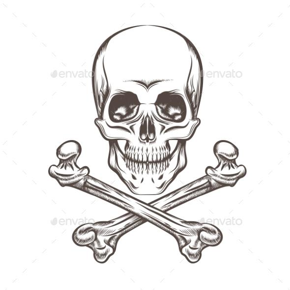 Skull And Bones - Tattoos Vectors