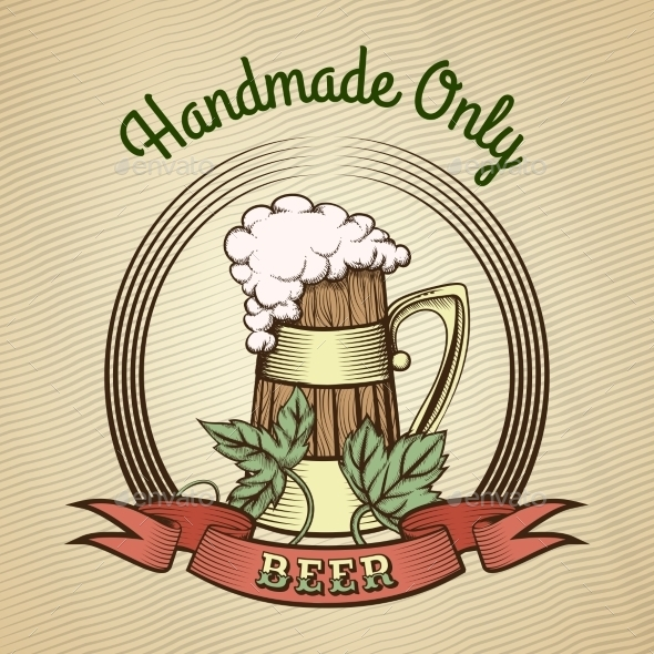 Beer Mug In Vintage Style. - Food Objects