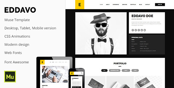 Eddavo - Agency Portfolio / CV / Resume Template - Muse Templates