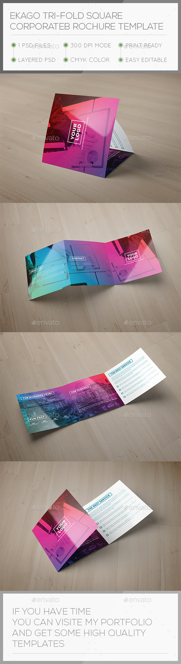Ekago Tri-fold Square Brochure Template - Brochures Print Templates