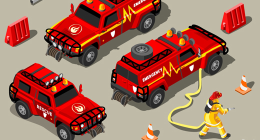 Rescue Team Emergency Set 3D Isometric Vector