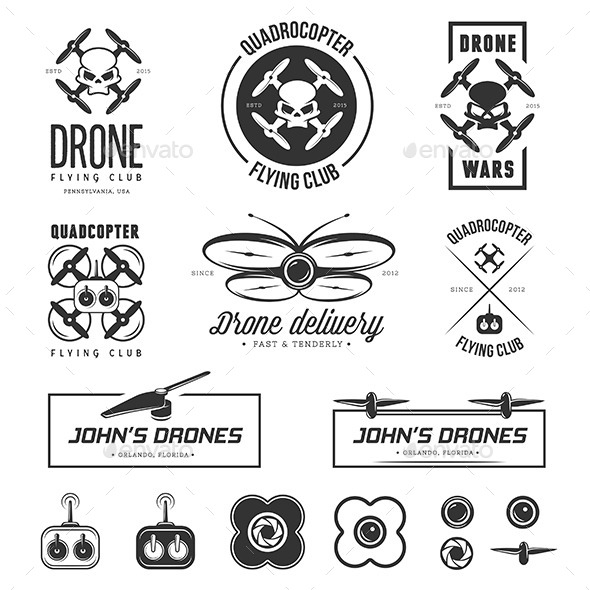 Drones Labels Set - Decorative Symbols Decorative