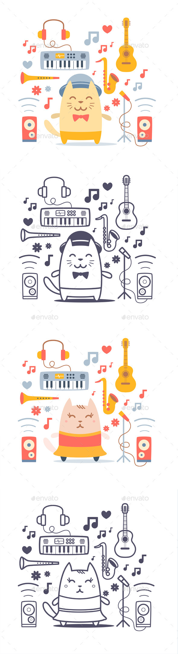 Cat Musician with Set of Instruments - Animals Characters