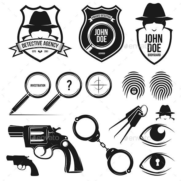 Private Detective Set - Decorative Symbols Decorative