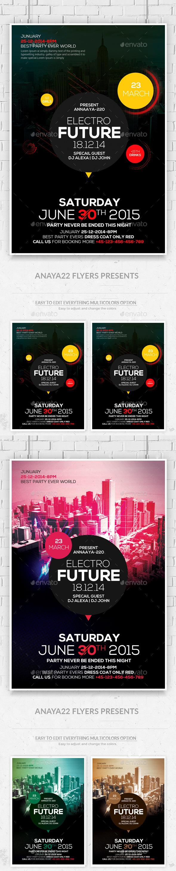 Electro Future Concert Flyers Bundle - Clubs & Parties Events