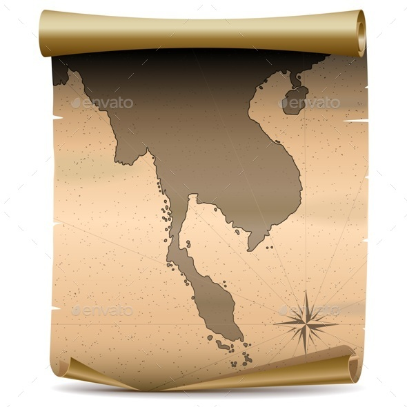 Thailand Vintage Map - Travel Conceptual